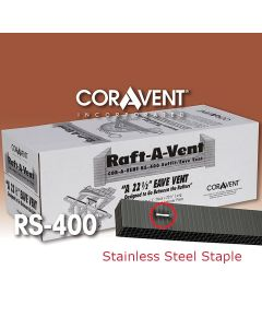 "Cor-A-Vent RS-400SSBLK Stainless Staple Raft-A-Vent 1""x1.5""x22.5"" Black 48ct Coravent"