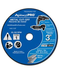 "Avanti Pro Masonry Cut Off Wheel 5 Pack 3""x1/16"""