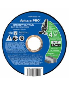 "Avanti Masonry Cut Off Abrasive Wheel 4 1/2""x1/16"""