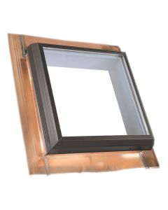 "VELUX QFT 2222 2075T Skylight Fixed Pan Flashed Tempered Low E2 22.5""x22.5"" Copper"