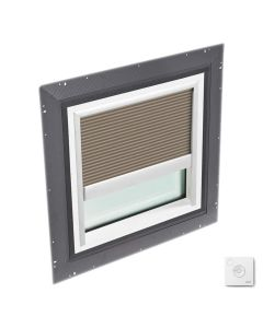 """VELUX QPF 4646 2005FS33X Skylight Pan Flashed with Solar-X Blinds 46 1/2""""x46 1/2"""" Cappuccino"""