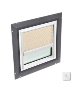 """VELUX QPF 4646 2006CS01X Skylight Pan Flashed with Solar-X Blinds 2x Pleated 46 1/2""""x46 1/2"""" Beige"""