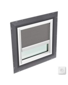 """VELUX QPF 4646 2006CS43X Skylight Pan Flashed with Solar-X Blinds 2x Pleated 46 1/2""""x46 1/2"""" Grey"""