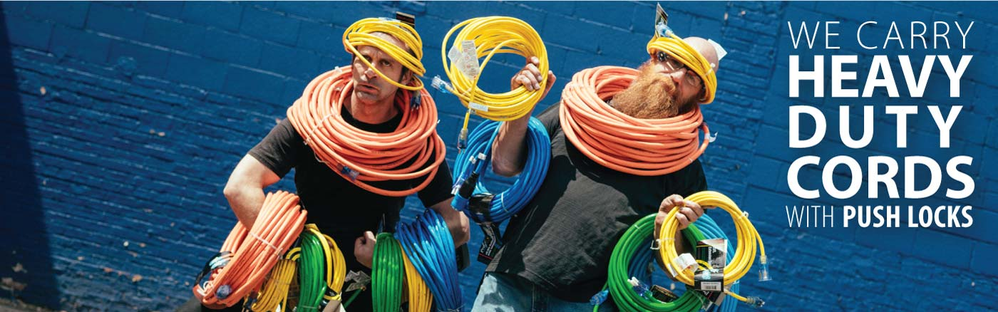 Weighed down by a few of our many heavy duty cords our explorers prepare to set out